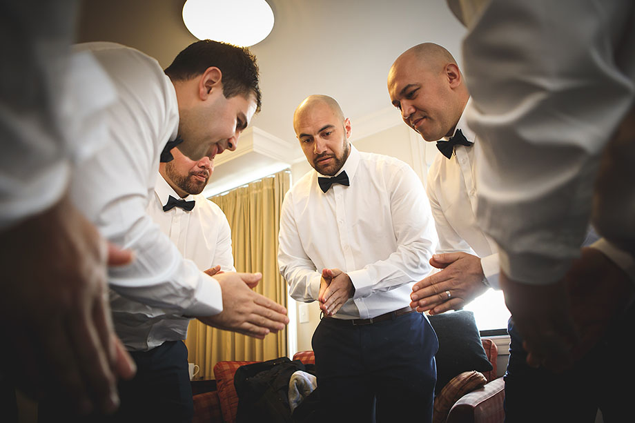 Grooms party getting ready