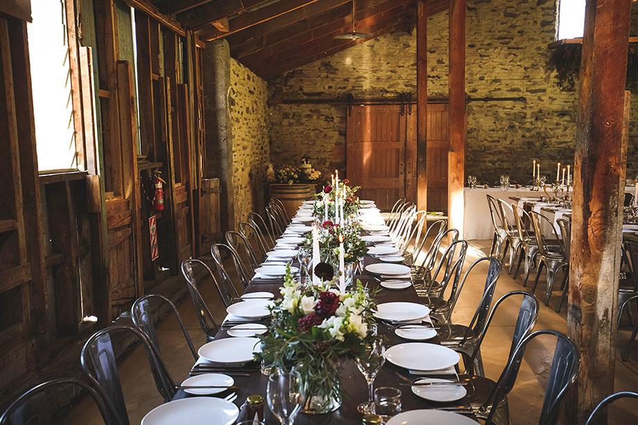 Peregrine Winery wedding table layout