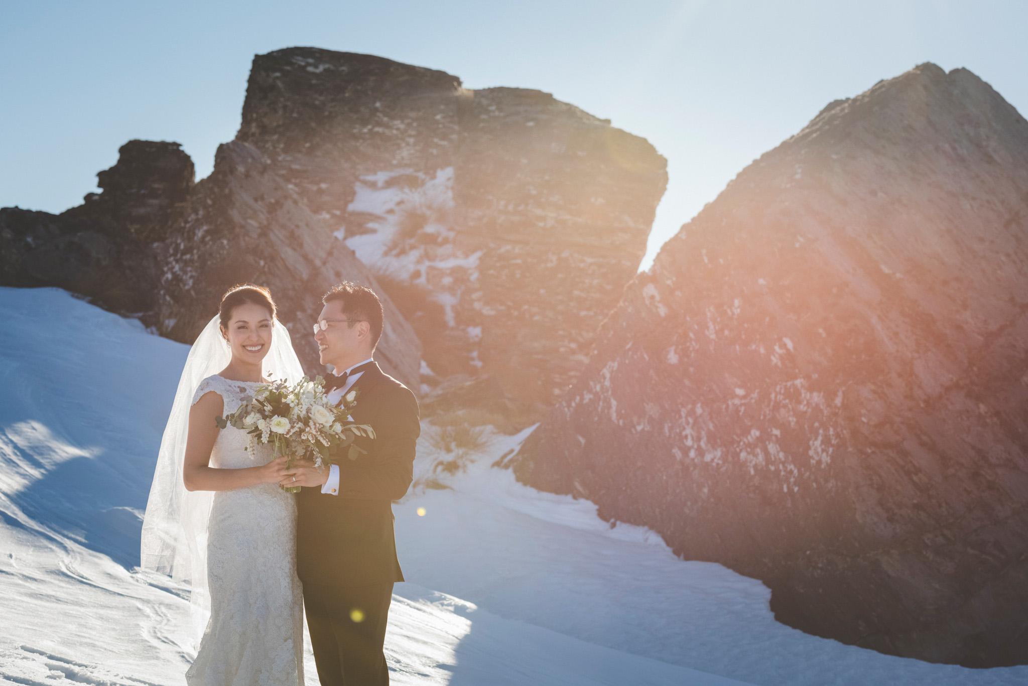 winter wedding heli photos at Cecil Peak