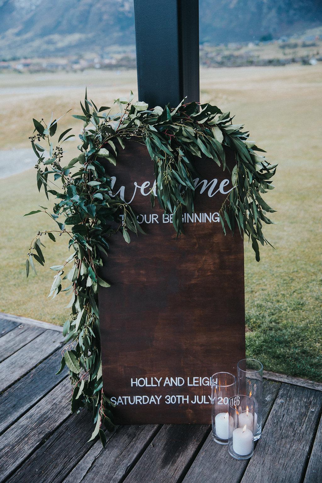 Welcome wedding sign in Queenstown new zealand