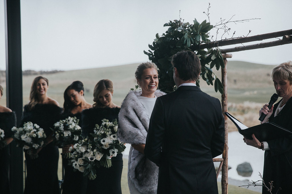 winter wedding ceremony at Jacks Point