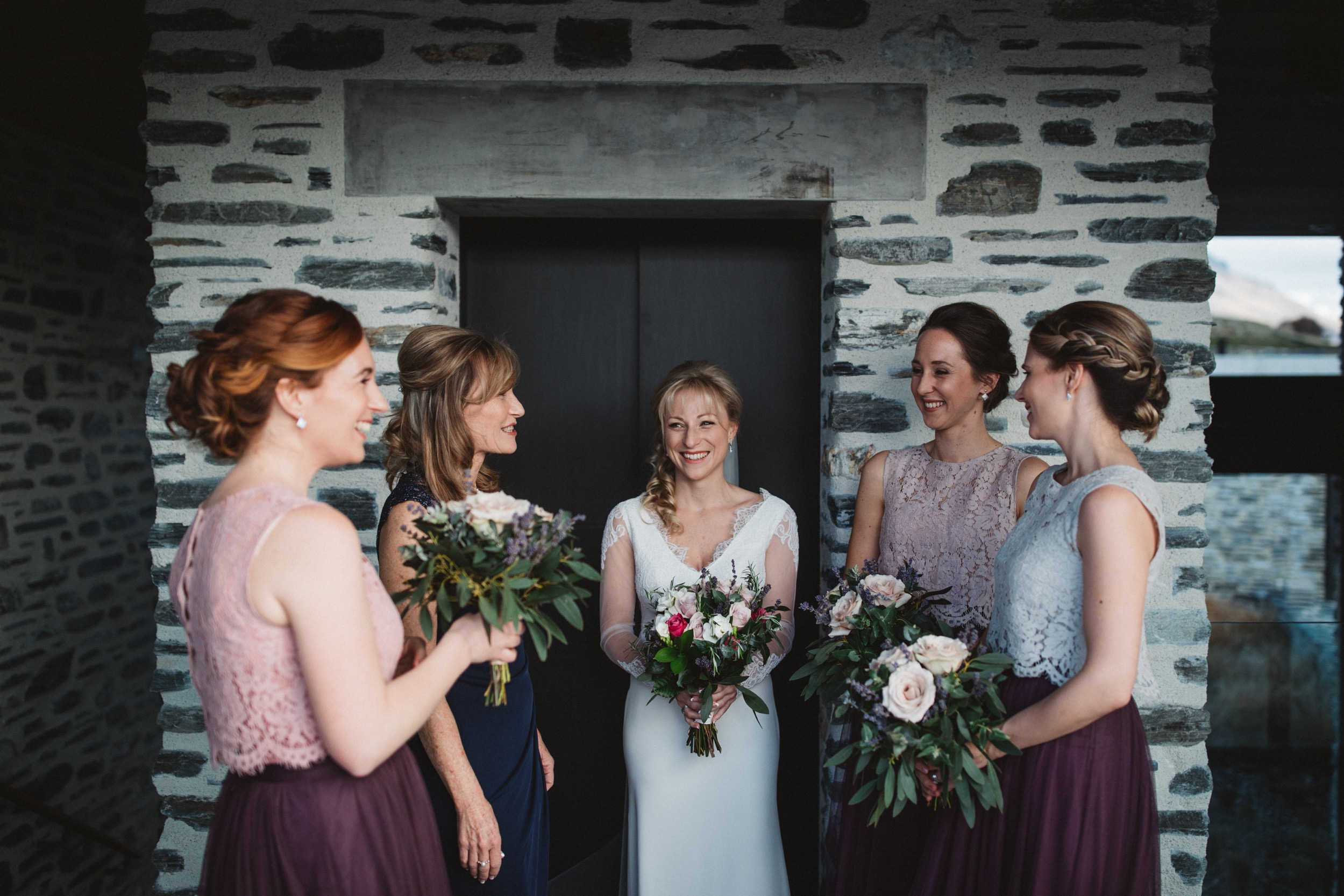 bridal party at jacks point private home in queenstown new zealand