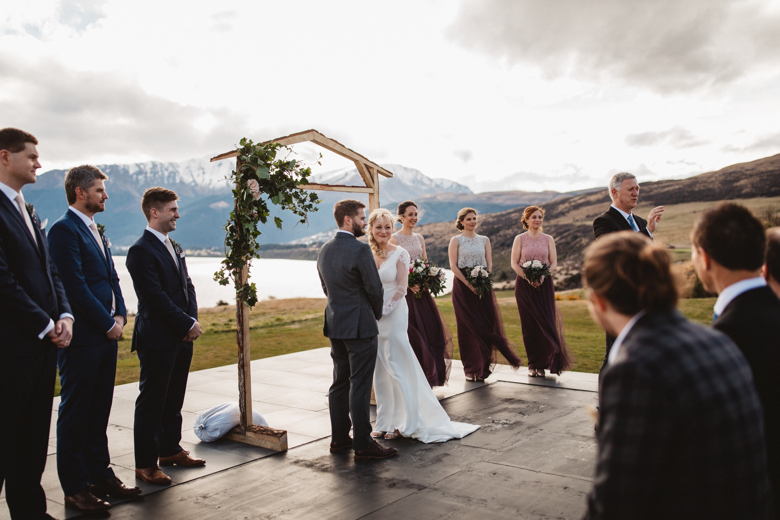 jacks point wedding ceremony in winter