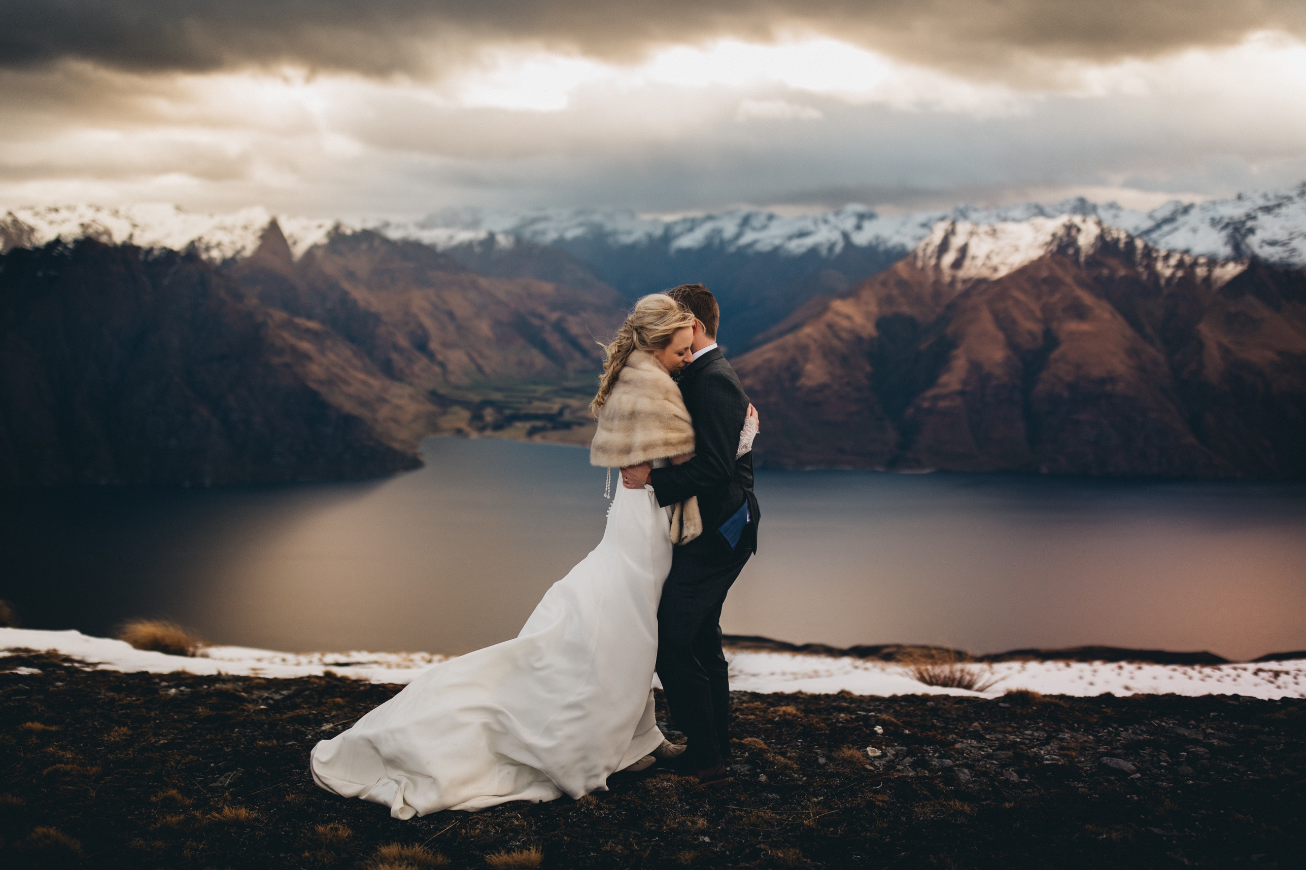 Epic destination wedding with heli mountaintop photos
