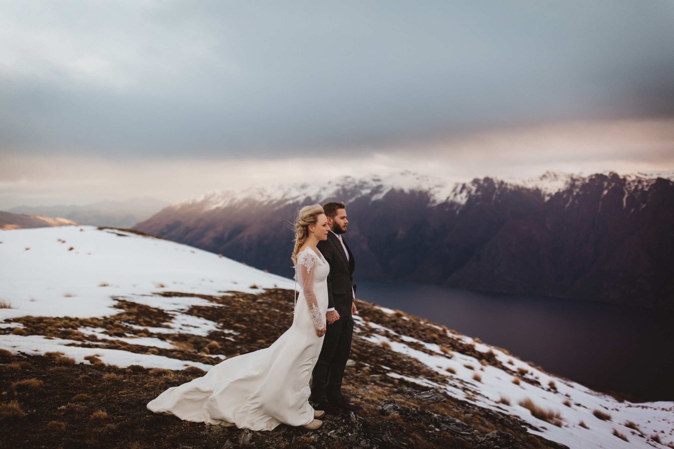 Heli wedding in Queenstown in winter