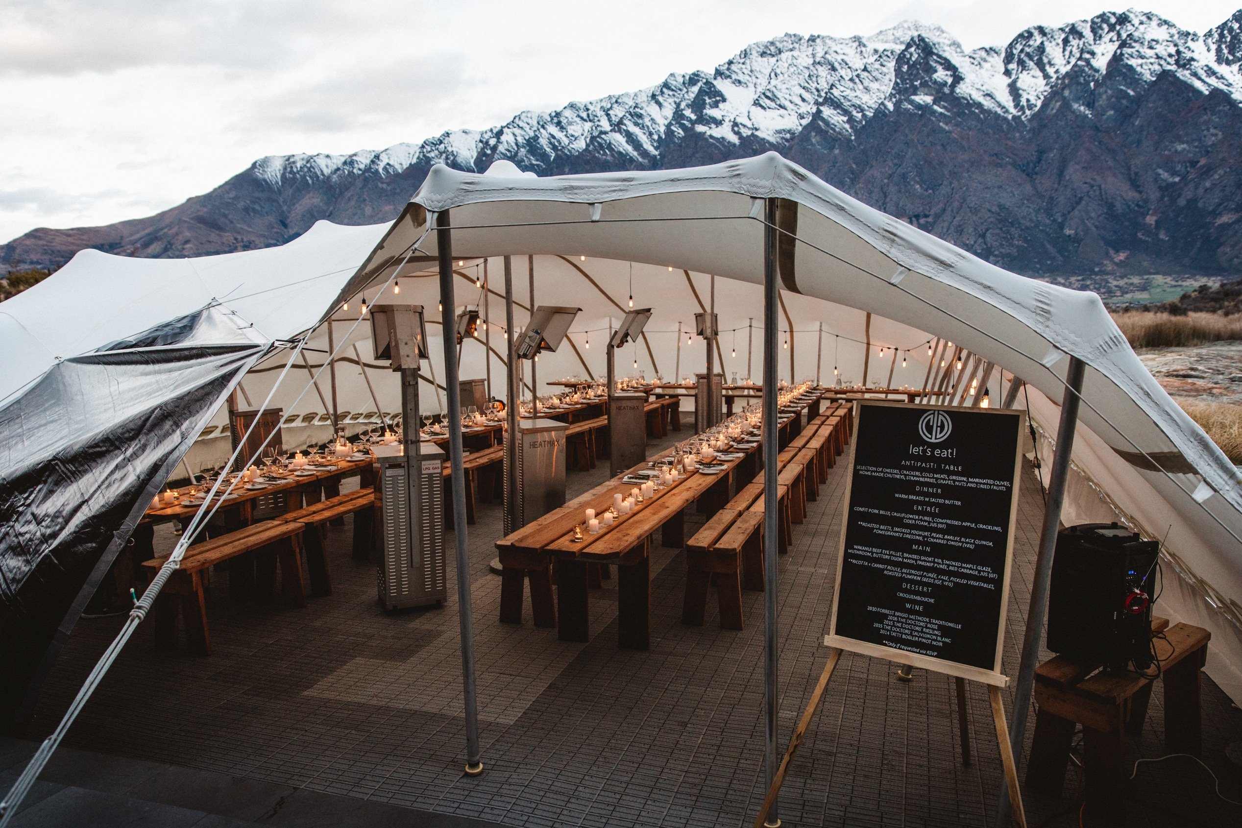 Marquee wedding at Jacks Point in the winter