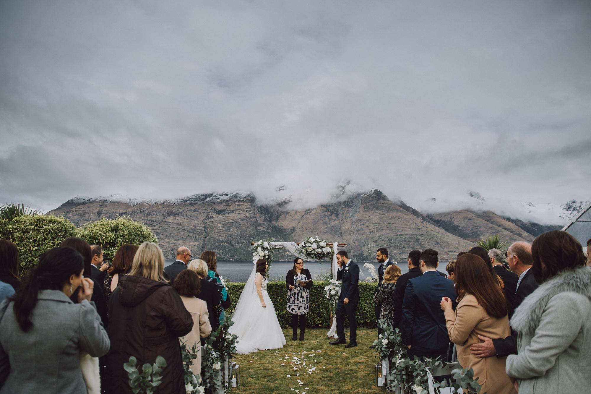 Winter wedding ceremony in Queenstown NZ