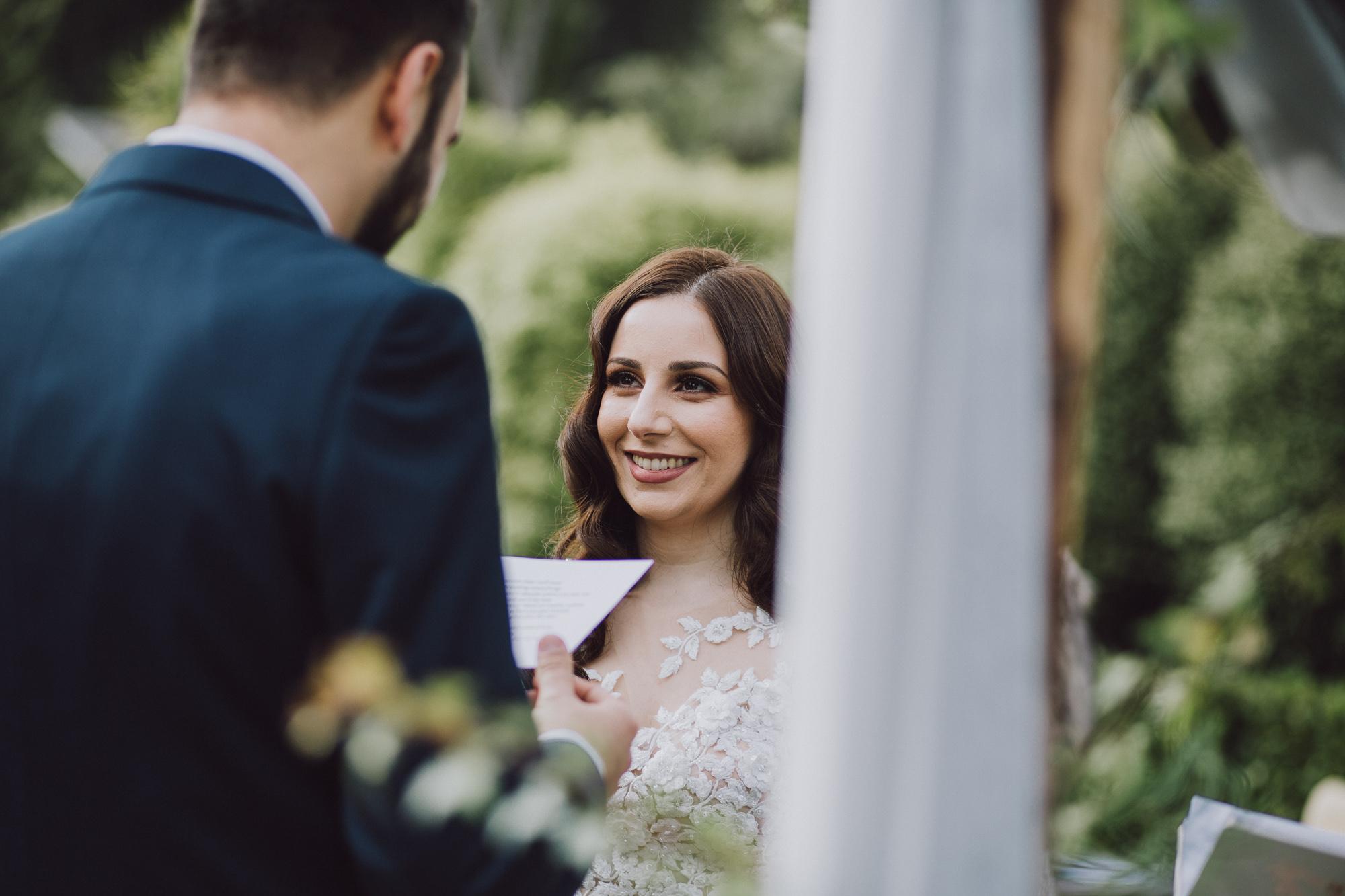 Wedding vows at Matakauri Lodge