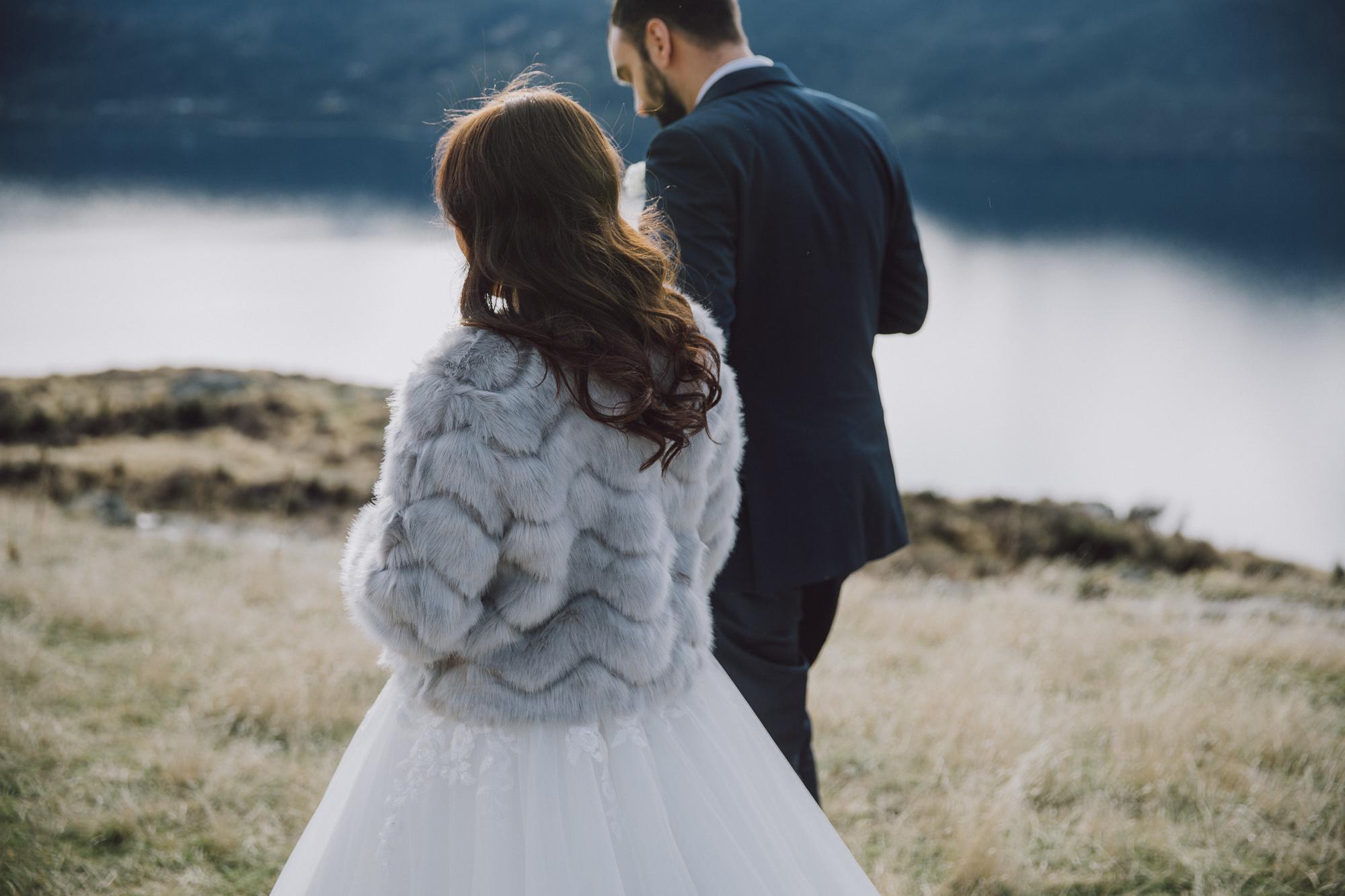 Heli wedding photos in winter in Queenstown NZ