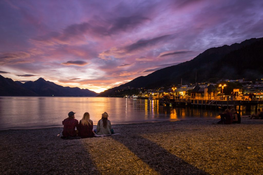 The most beautiful sunset is in Queenstown Bay New Zealand